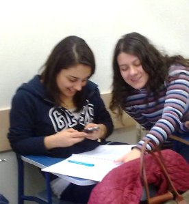 Students with phone